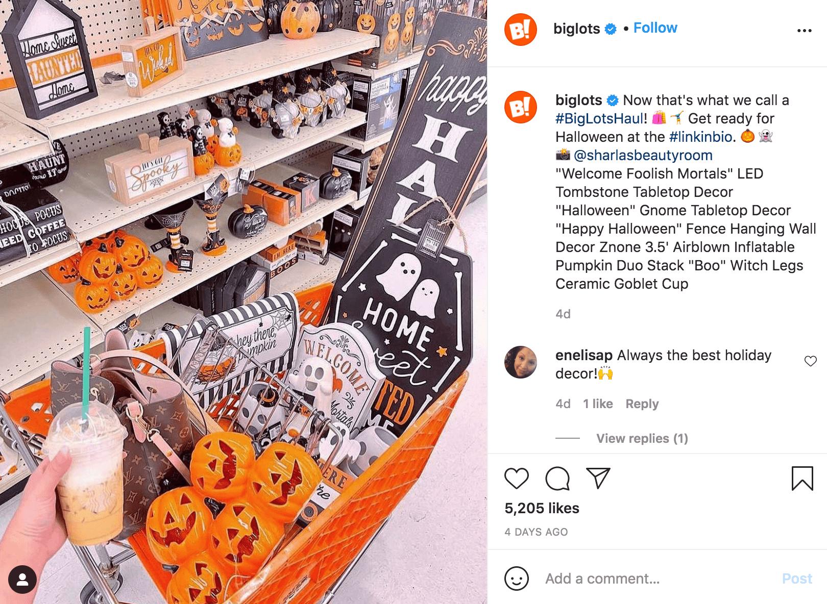 Halloween Brand Post Shopping Cart Instagram
