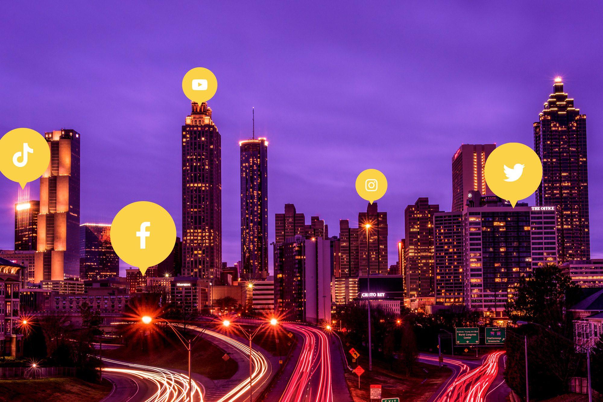Atlanta Skyline with Social Media Influencer Icons