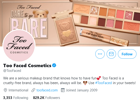 Too Faced Cosmetics twitter bio example