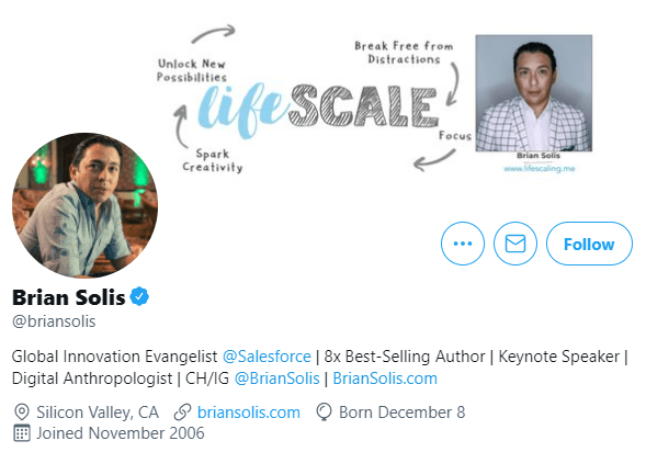 Brian Solis Twitter bio example