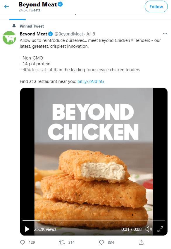 Beyond Meat twitter pinned tweet example