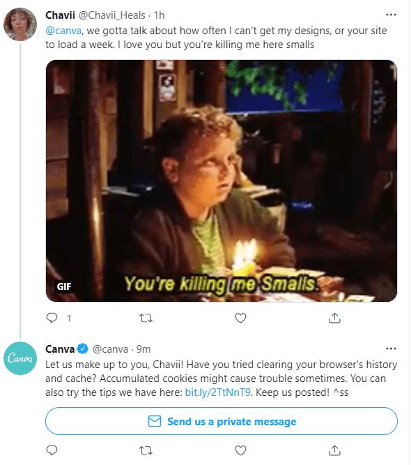 Canva Twitter response example