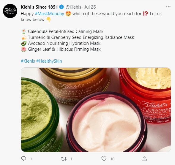 Kiehl's twitter post example