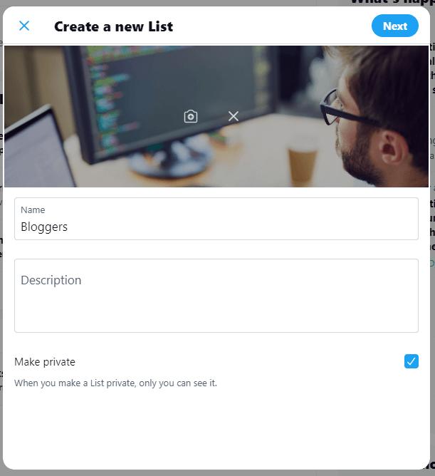 Create new list screen Twitter List