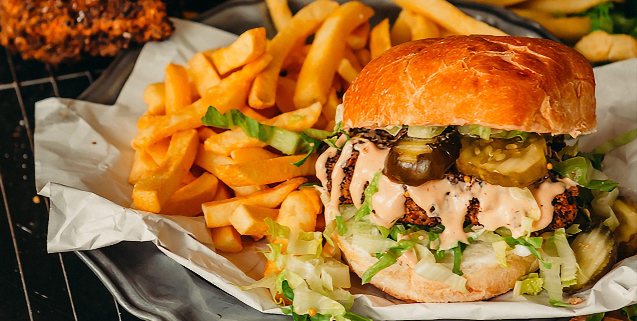 Pinterest Photo burger fries pickles hidden valley sauce