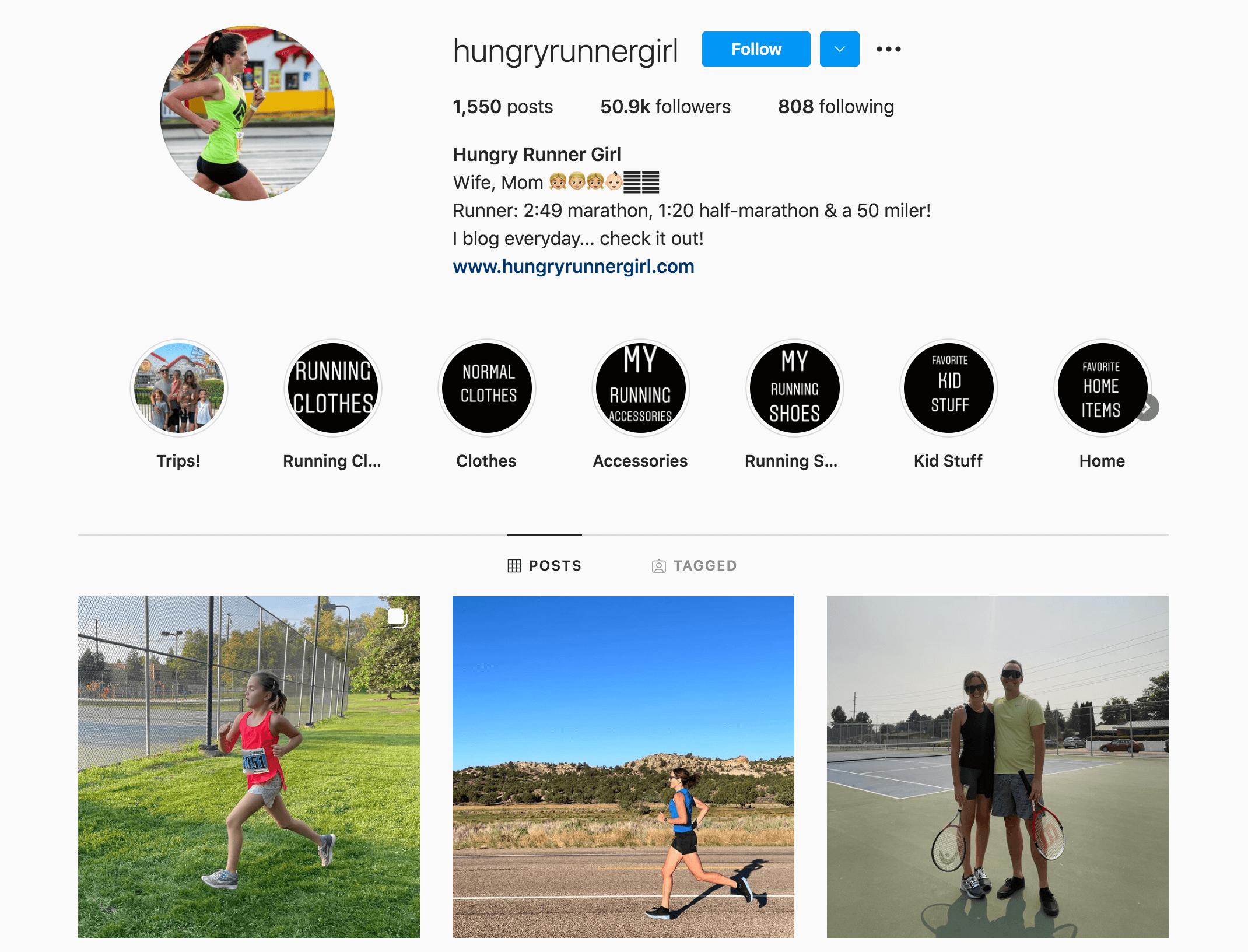 Hungry Runner Girl Instagram Profile