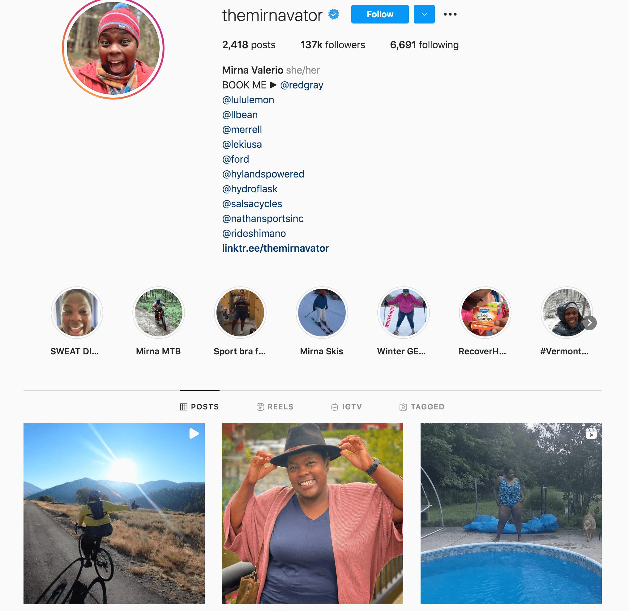 Mirna Valerio Instagram Profile