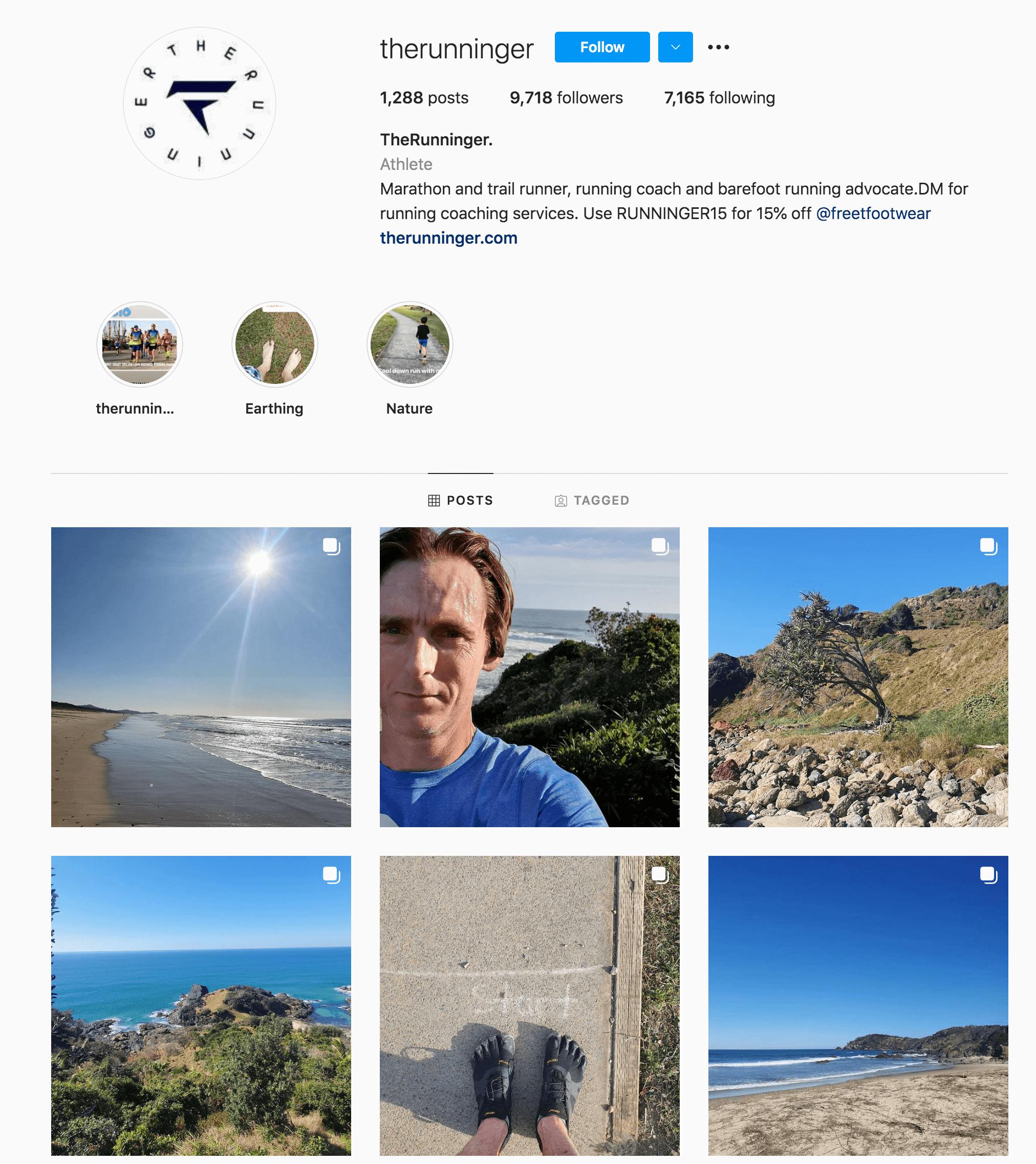 The Runninger Instagram Profile