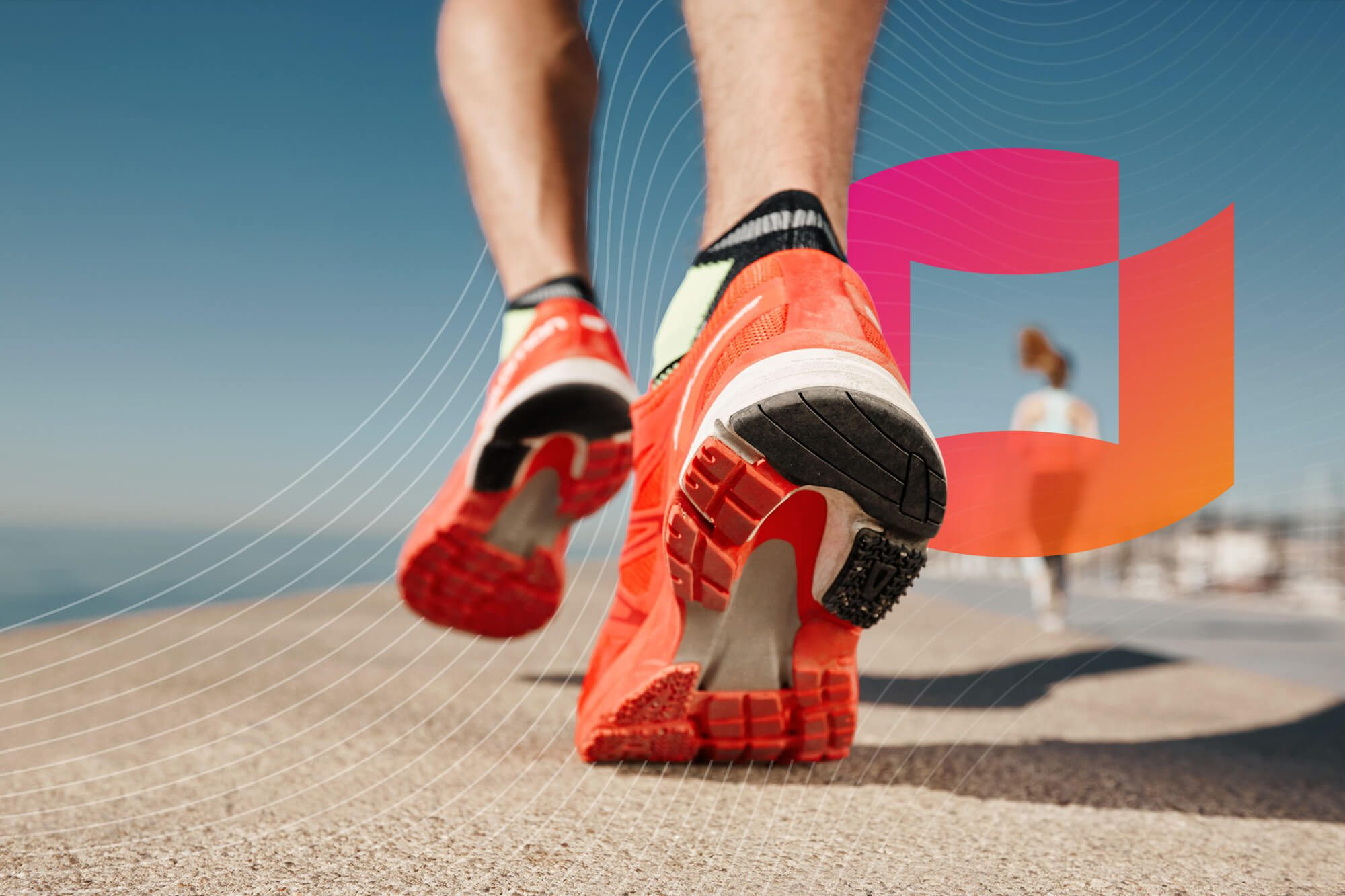 Running shoes on a surface