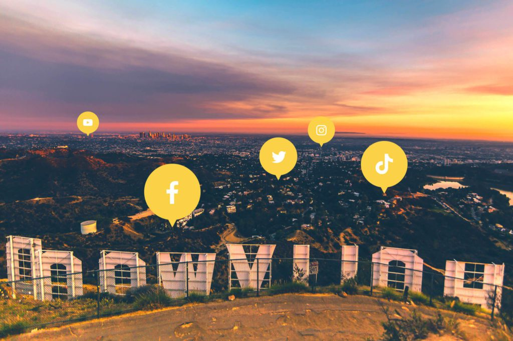 Social Media Icons in front of the Hollywood Sign