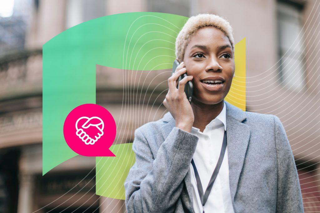 woman talking on phone IZEA hear